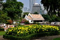 Bangkok, Thailand: Lumphini Park & Office Towers Royalty Free Stock Photo