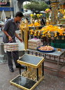 Bangkok, Thailand: Man at Erawan Shrine Royalty Free Stock Photography