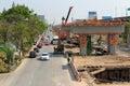 Bangkok thailand mar builder team are building new sky train station on local road bangkok thailand Stock Image