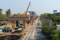 Bangkok thailand mar builder team are building new sky train station on local road bangkok thailand Stock Photography