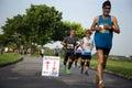 Bangkok Thailand - May 21, 2017 - Singha Logo on Marathon runners Group People Race Outdoor Sport Training
