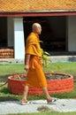 Bangkok, Thailand: Monk at Wat Mahathat Royalty Free Stock Photo