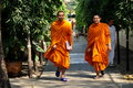 Bangkok, Thailand: Monks at Thai Wat Stock Photo
