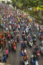 BANGKOK, THAILAND - Motorcycle traffic jam in city centre during celebrate football fans winning AFF Suzuki Cup 2014 Royalty Free Stock Photo