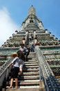 Bangkok, Thailand: People Climbing Wat Arun Prang Royalty Free Stock Photos