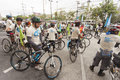 Bangkok thailand september unidentified peaple in ice ride activity by greenpeace southeast asia on sep rama road Stock Photos