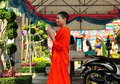 Bangkok, Thailand: Young Monk at Wat Arun Royalty Free Stock Image