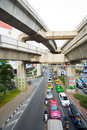 Bangkok Traffic Skytrain Above Stock Photo