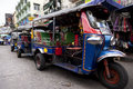 Bangkok transport thailand august tuk tuk car park on the khao san street a very commercial and tourist streets of tuk tuk waiting Royalty Free Stock Photos