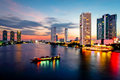 Bangkok Transportation at Dusk with Building along the river Royalty Free Stock Photo