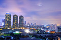 Bangkok at twilight aerial view of city Royalty Free Stock Photography