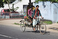 Bangladesh bicycle rickshaw is still widely used and popular way to get around in congested traffic in big cities of driver of a Royalty Free Stock Photography