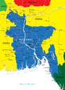 Bangladesh map highly detailed vector of with administrative regions main cities and roads Stock Images