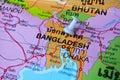 Bangladesh map macro shot of with push pin Royalty Free Stock Photography