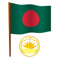 Bangladesh wavy flag and coat of arms against white background art illustration image contains transparency Royalty Free Stock Photo