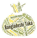 Bangladeshi taka represents foreign currency and currencies indicating exchange market Royalty Free Stock Images