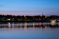 Bangor city of maine skyline at dusk Stock Photo