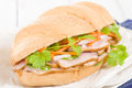 Banh mi crusty bread filled with smoked duck breast slices carrot and daikon radish pickle do chua and green chilies garnished Stock Images