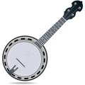 Banjo fiddle instrument grey insrtument isolated on white background Royalty Free Stock Photography