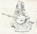 Banjo player. Freehand sketch. Full sized, orignal. Royalty Free Stock Photo