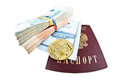 Bank book of Sberbank, russian passport, stacks of money and bitcoin coin Royalty Free Stock Photo