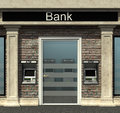 Bank branch with automated teller machine facade of a Royalty Free Stock Photography