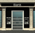 Bank branch with automated teller machine facade of a Stock Image