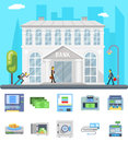 Bank building administrative commercial house business finance money check count icons set flat design vector