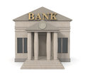 Bank building front view of a d render Stock Photos