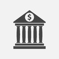 Bank building icon with dollar sign in flat style. Royalty Free Stock Photo