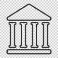 Bank building icon in flat style. Government architecture vector