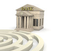 Bank building one with a maze d render Royalty Free Stock Photos