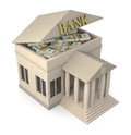 Bank building one with the roof open and stacks of banknotes d render Royalty Free Stock Images