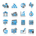 Bank business and finance icons vector icon set Royalty Free Stock Photography