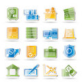 Bank, business, finance and office icons Royalty Free Stock Photography
