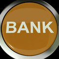 Bank button shows online or internet banking showing Stock Photo