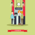 Bank cashbox concept vector illustration in flat style