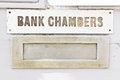 Bank chambers letter box with sign saying Royalty Free Stock Images