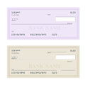 Bank Check with Modern Design. Flat illustration. Cheque book on colored background. Bank check with pen. Concept