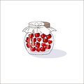 Bank with cherries and hearts on Valentine`s Day. Vector decorative texture.