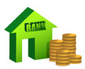 Bank and coins illustration design Royalty Free Stock Photo