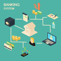 Bank concept with isometric financial and investment icons illustration set of symbols such as building money coin Royalty Free Stock Images