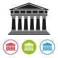 Bank, courthouse, parthenon architecture icon