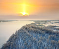 Bank of great river in winter Stock Photo