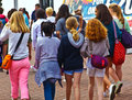 Bank holiday in brighton youngsters visiting pier on a may monday Royalty Free Stock Image