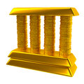 Bank icon illustration of made of gold bars and coins Stock Photography