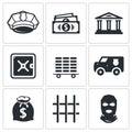 Bank icons set Royalty Free Stock Photo