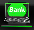 Bank on laptop shows internet www or electronic banking showing Royalty Free Stock Photo