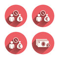 Bank loans icons cash money symbols bag borrow sign get dollar fast pink circles flat buttons with shadow vector Stock Photography