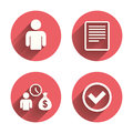 Bank loans icons fill document and get money cash bag symbol apply for credit sign check or tick mark pink circles flat buttons Royalty Free Stock Photos